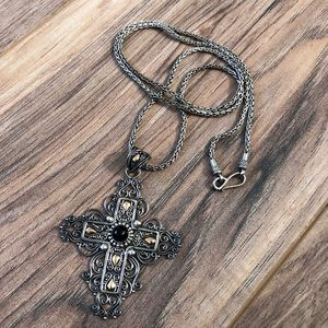 Gold & sterling silver Indonesian cross with chain